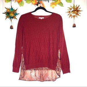 db Dress barn red sheer snakeskin sweater shirt